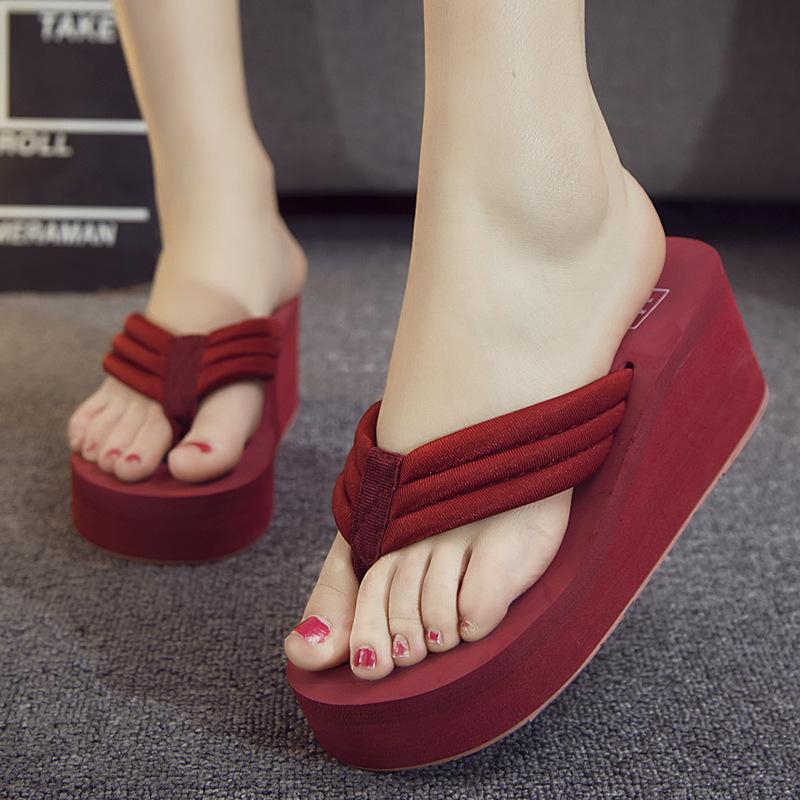8962af4bd4cb9c 2018 Casual Summer Fashion Swing Platform Shoes For Women Breathable Wedges  Woman Thick Slope With Non Slip Beach Sandals Slippers Sale Platform Sandals  ...