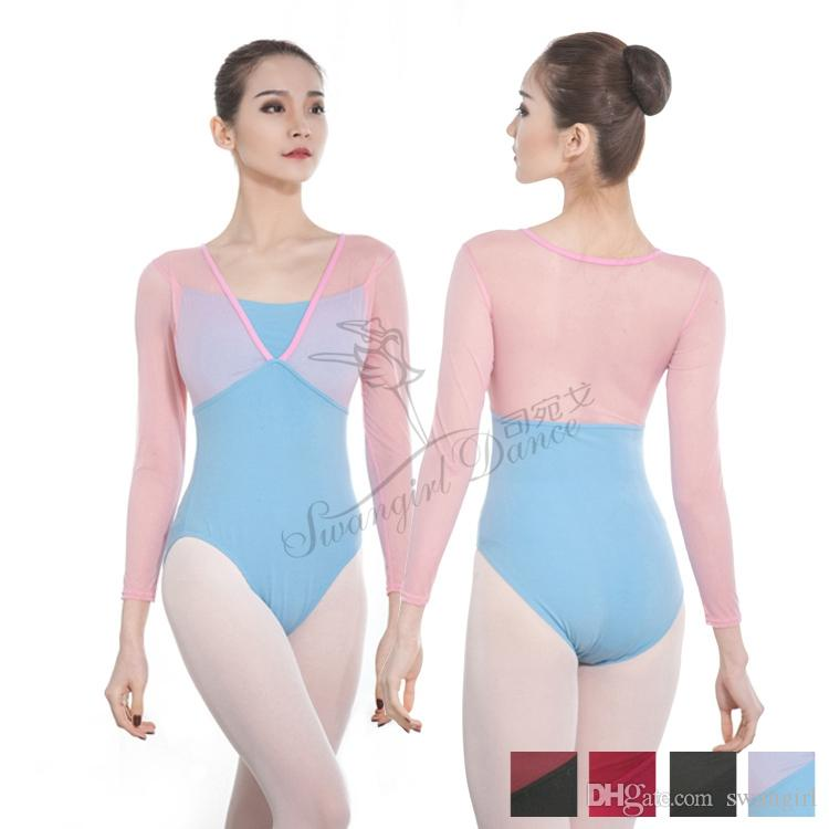 266619577de2 Ballet Bodysuits for Girl Mesh Long Sleeve Dance Ballet Leotard Female  Ballet Unitard Gymnastics Leotard CS0708 Ballerina Leotard Women Ballet  Leotard ...
