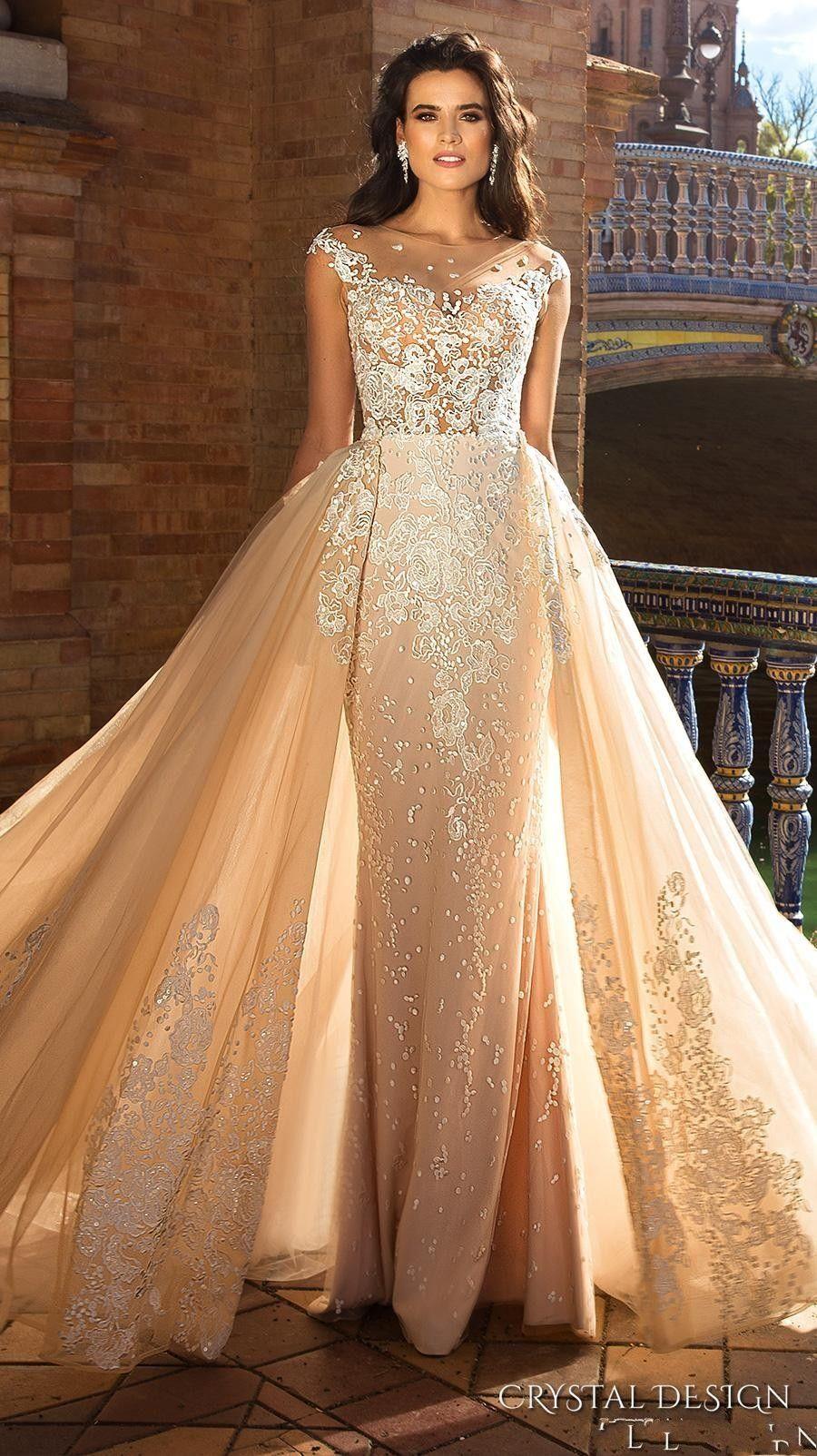 Crystal Design 2018 Bridal Capped Sleeve Jewel Neck Heavily Embroidered Bodice Detachable Skirt Sheath Wedding Dresses Low Back Long Train