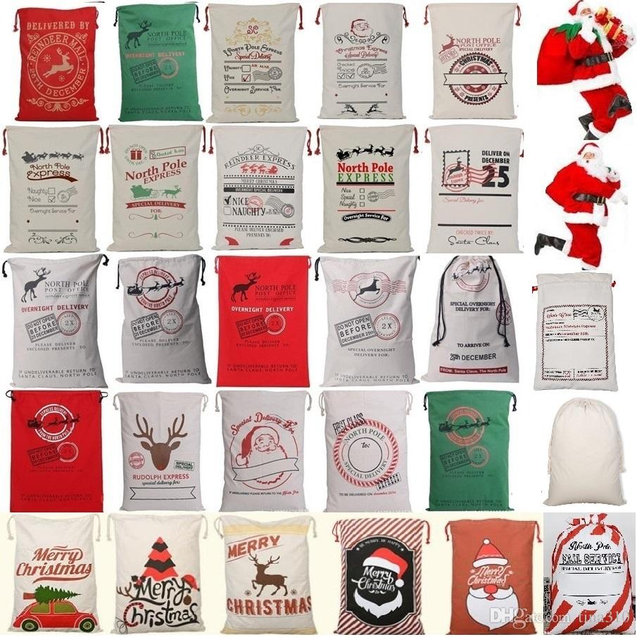 New 26 colors Christmas Bags Large Organic Heavy Canvas Bag Santa Sack Drawstring Bag With Reindeers Santa Claus Sack Bags for kid 4549