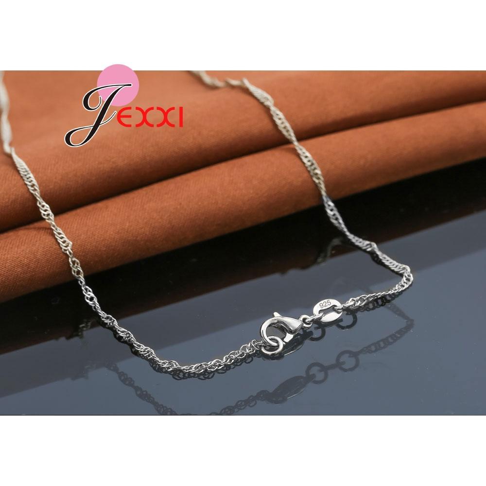 JEXXI Klassische Paar Geschenke 925 Sterling Silber Halskette Sets Mode Brincos Ohrstecker für Frauen Jahrestag Schmuck Sets