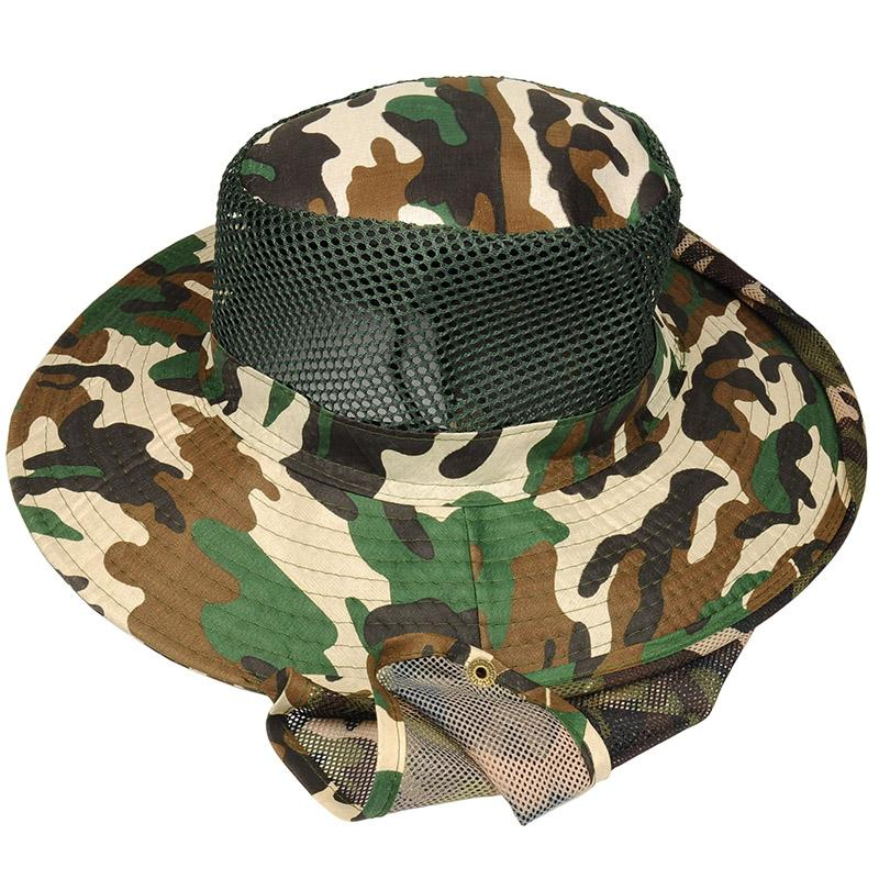 2pcs /Lot Outdoor Sun Protection Hat Military Fishing Cap With Wide Brim And Shawl Neck Protection Camouflage Hat Camping Hat