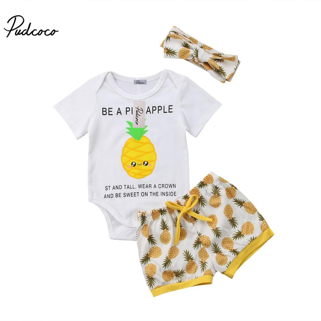 ad42abf496e9 2019 Cute Toddler Kid Baby Girl Boy Pineapple Print Short Sleeve Romper  Short Pants Headband Outfits Clothing Set From Windowplant