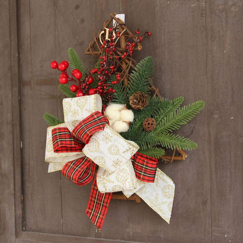 christmas wreath door wall ornament christmas tree hanging decoration flower bow home decorations wall hanging christmas decor d18111202 christmas