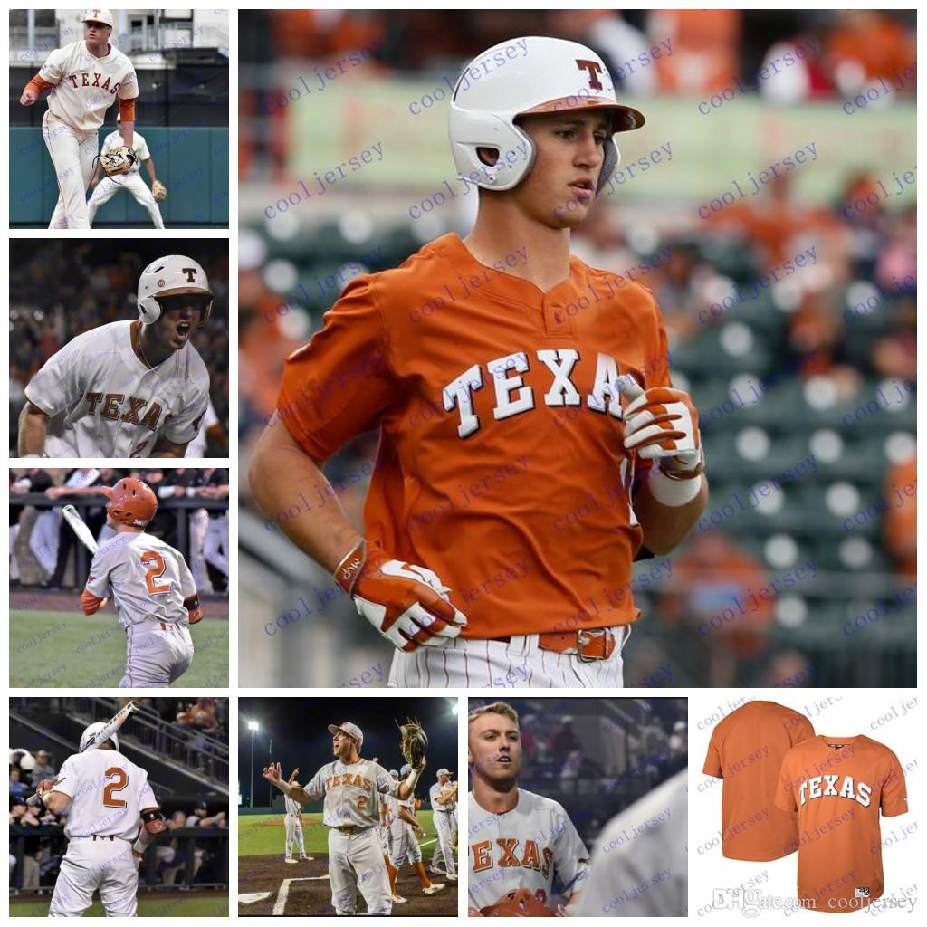 finest selection cbac5 5e630 Custom NCAA Texas Longhorns College Baseball personalized Any Number Name  #2 Kody Clemens 1 David Hamilton Jerseys S-4XL White Orange Cream