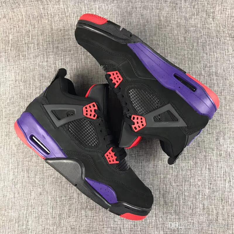 best sneakers 7083f ffc64 2018 Newest Release 4 NRG Raptors 4S IV Basketball Shoes Sneakers Men Black  Purple Red AQ3816 056 Come With OG Box Best US40 47 Jordans Running Shoes  From ...