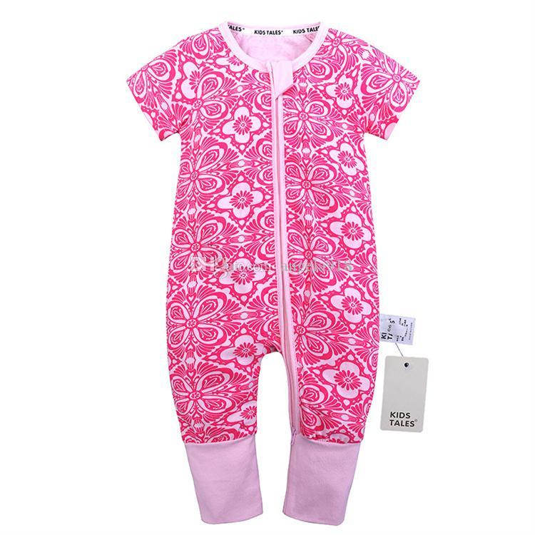 Ins heißes Verkaufskarikaturbaby, das 0-2-jähriges Baby bedeckte, bedeckte Sommer Rundhalsausschnitt Kurzhülse Rosinespielanzug H042