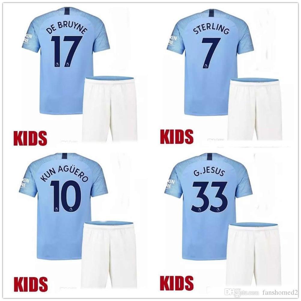 f19e63ef1d2 Kids Boy 2018 2019 KUN AGUERO G.JESUS Home Blue Kid Soccer Jersey ...