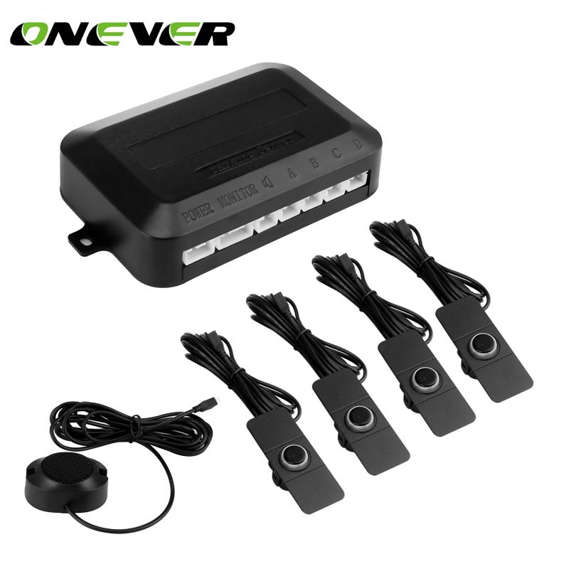Onever Car Parking Sensor Parktronics 4 Adjustable 16mm Flat Sensors  Reverse Backup Radar Sound Buzzer Alarm Adjustable Sound