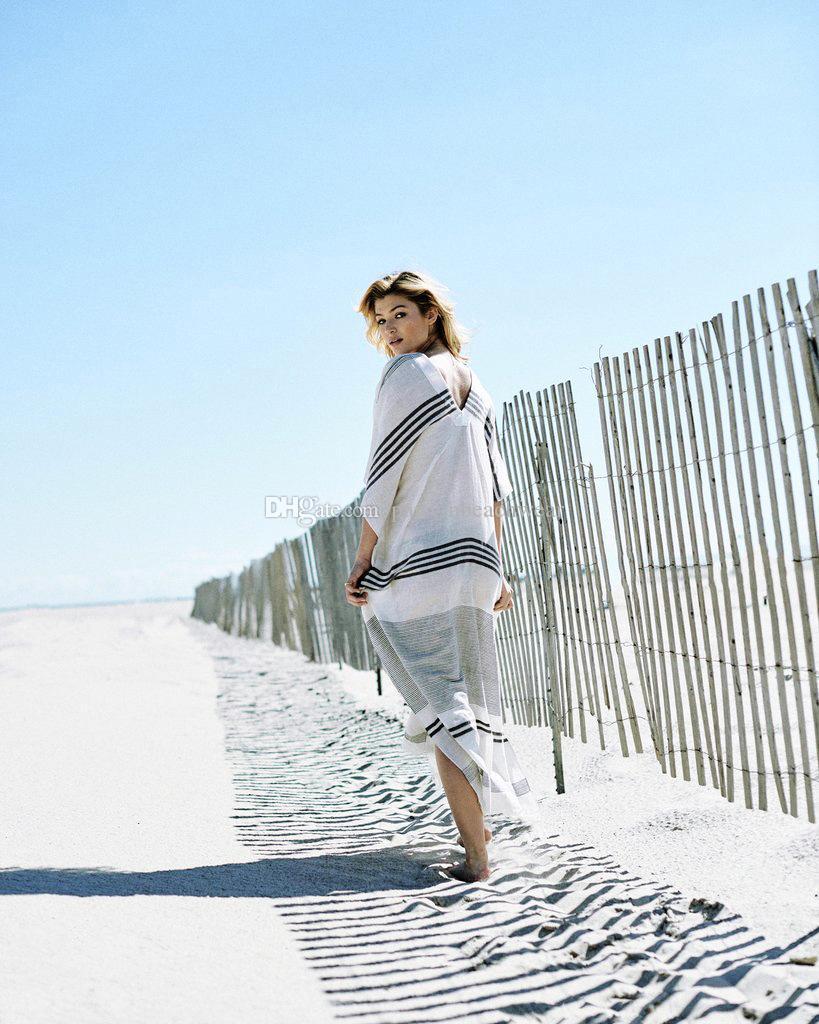 Пляжный покрой Кафтан Купальники Женское платье Туника Новый Райс Свободный купальник в полоску Бикини Плавки Парео Сапоги Salidas De пляжная одежда