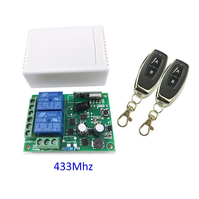 433MHZ Wireless 2CH Channel Way Relay RF 2 Remote Control Switch AC 250V 110V 220V Receiver Module 2pcs 433 Mhz Remote Controls