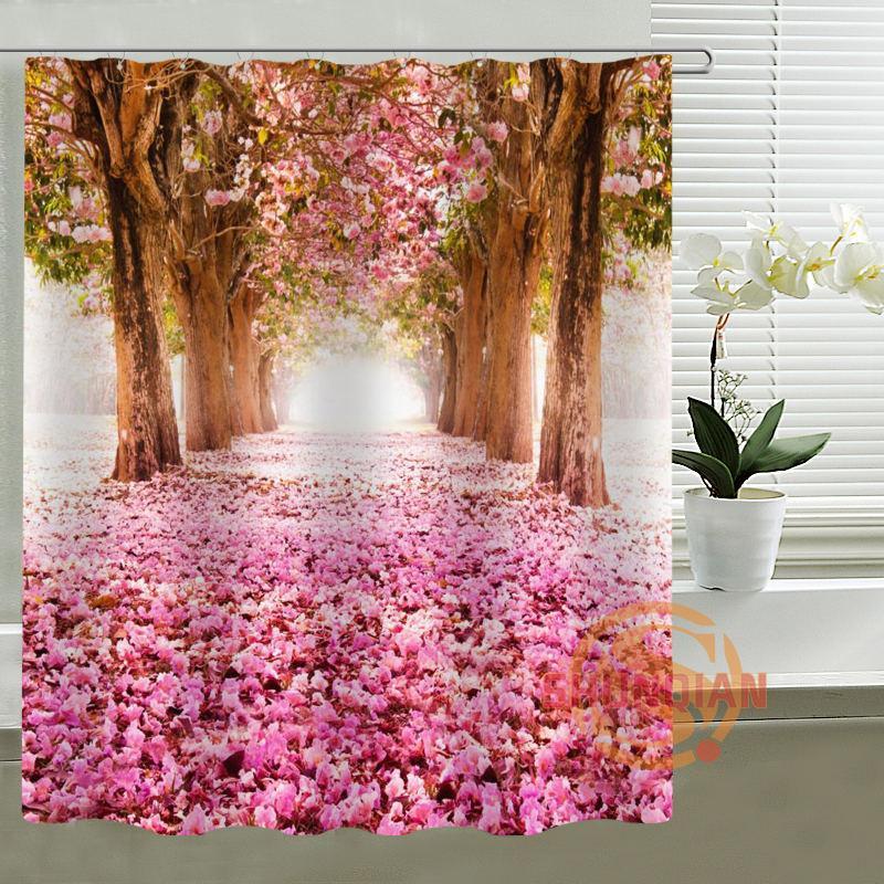 2019 Custom Shower Curtain Sakura Trees Bath Curtain Waterproof