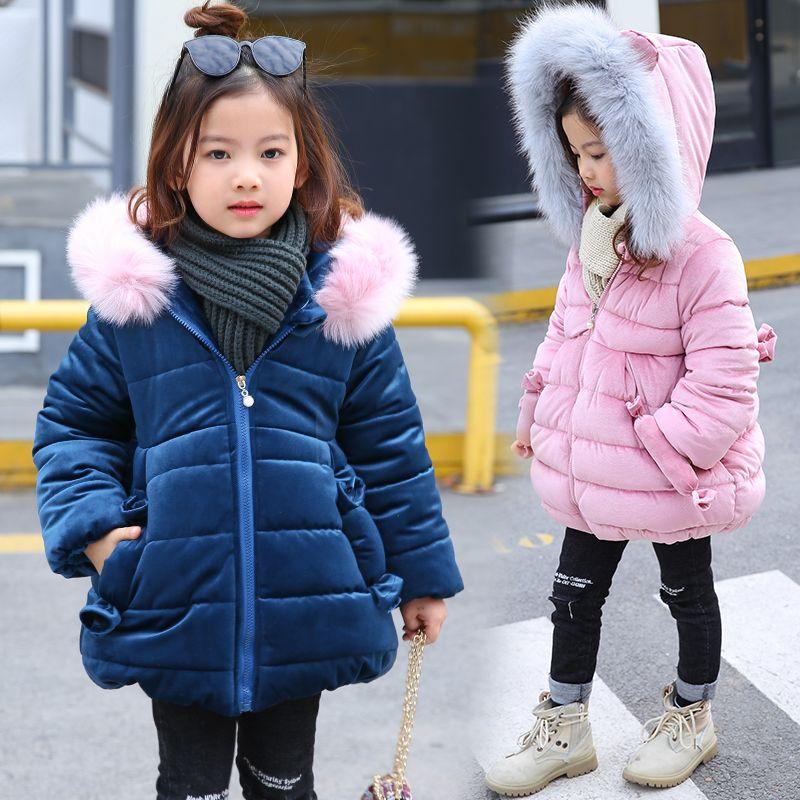 2018 tavşan Kulak Kış Ceketler Kız Giysileri Çocuk Giyim Kalın Kürk Yaka Kapşonlu Coat Kızlar Kış Mont Ve Ceketler
