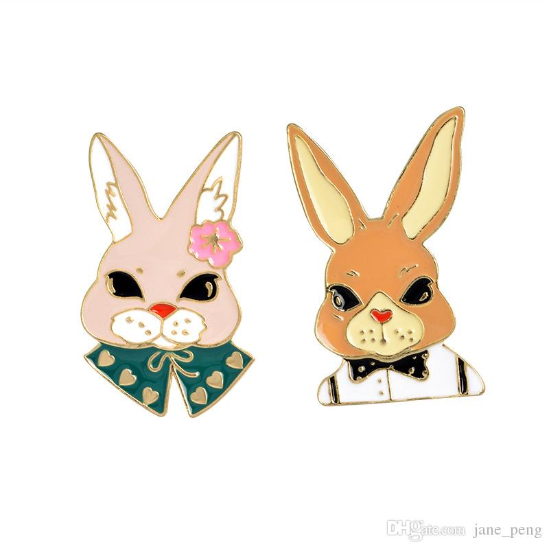 Bow Tie Mr Rabbit Flower Lady Rabbit Cute Enamel Small Brooches Pins For Lover 2018 New Arrival Fashion Shirt Lapel Pins Wholesale Drop Ship