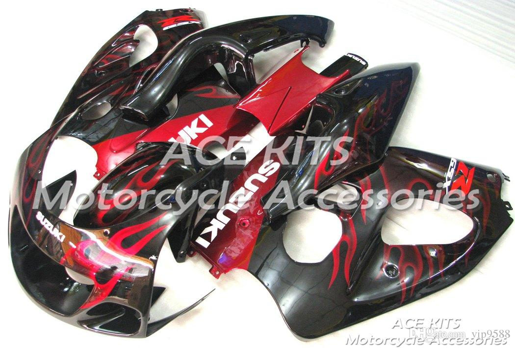 ACE Motorcycle Fairings For SUZUKI GSX-R600 GSX-R750 1996 1997 1998 1999 Compression or Injection Bodywork Red Black No.519