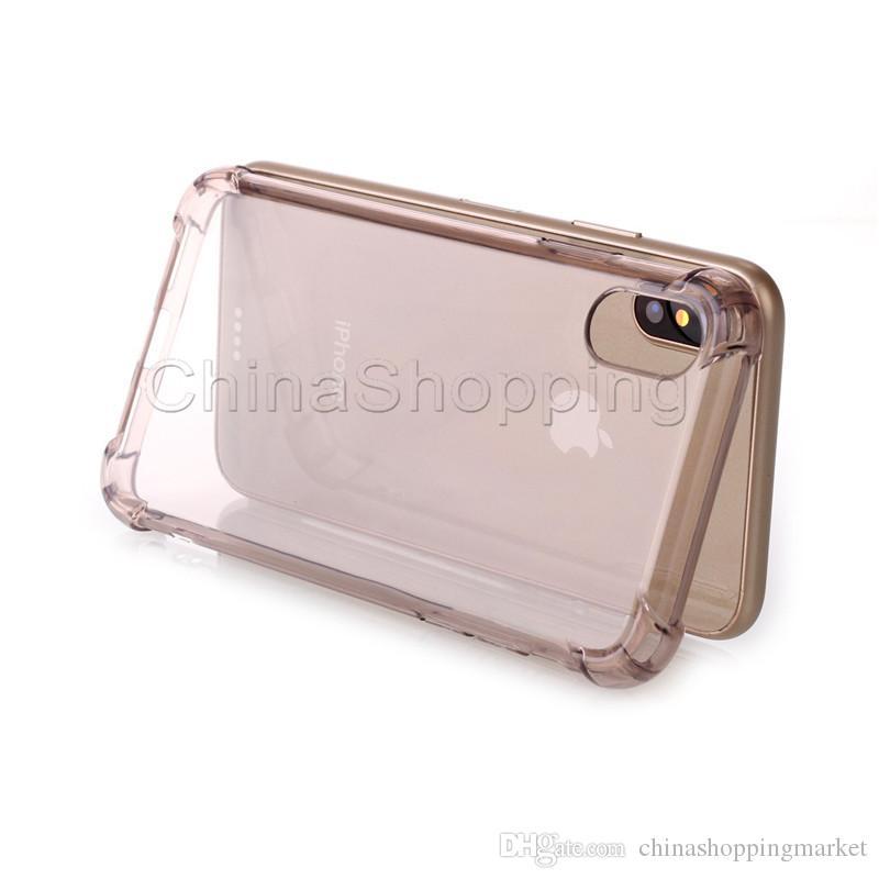 Şeffaf Hava Yastığı Darbeye Tasarım TPU Malzeme Cep Telefonu Kılıfları Için iPhone X 8 7 6 6 S Artı Samsung S8 S9 Artı Not 8 Arka Kapak