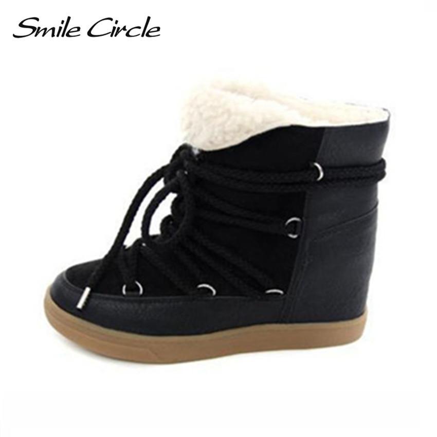 f535adcd0067 Hot Sale 2018 Winter Boots Women Shoes Hidden Wedge Heels Boots Women  Elevator Shoes Lace Up Casual Shoes For Women Ankle Boots Ankle Boot High  Heel Shoes ...