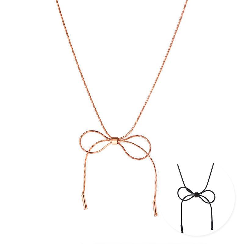 e76c23cfa91 2019 Chic Bowknot Women Choker Stainless Steel Bow Knot Pendant ...