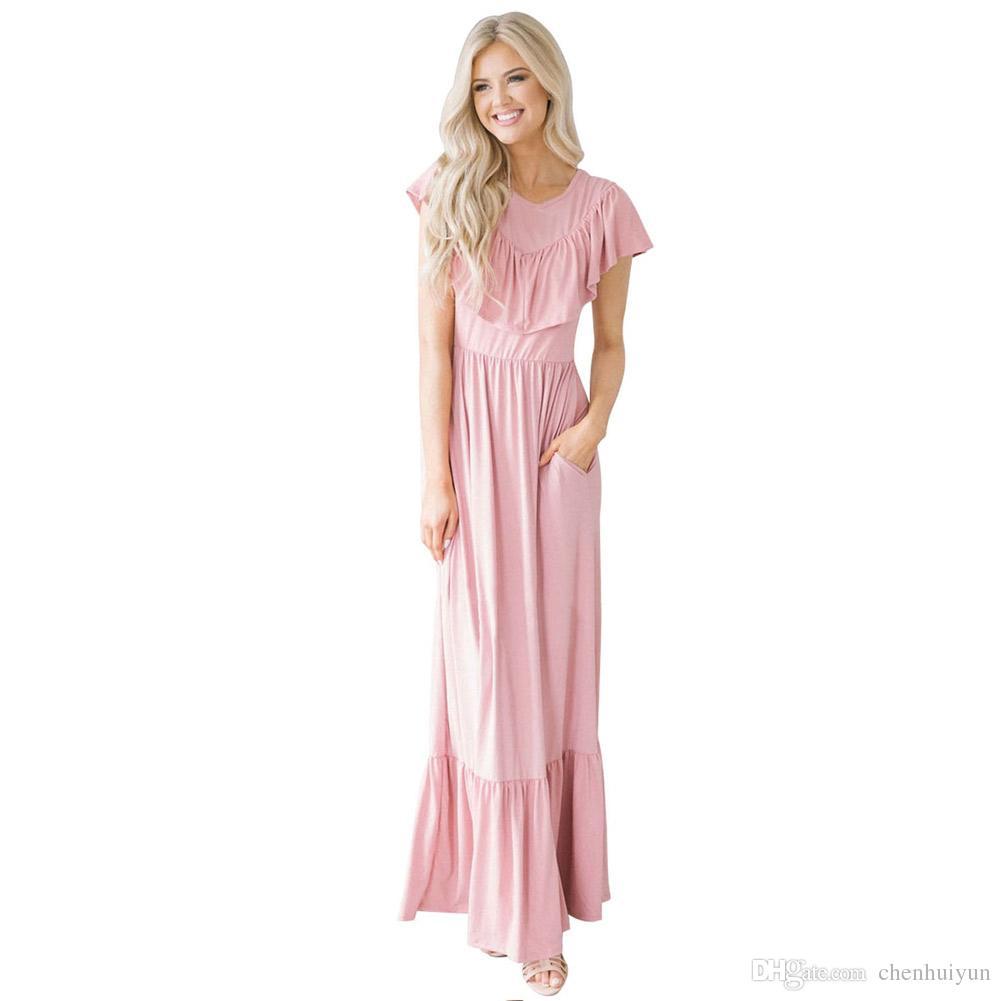 16a18b22f Compre 90% Poliéster Maxi Vestido Estilo Longo Para Mulheres Com 3 Cores De  Chenhuiyun, $27.27 | Pt.Dhgate.Com