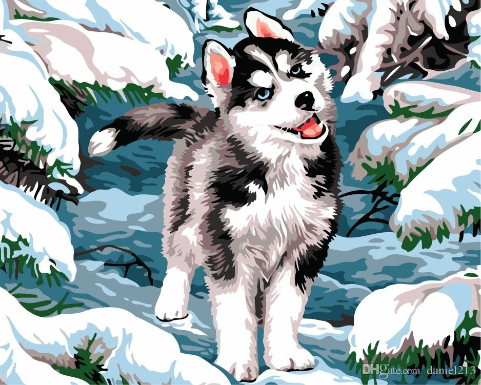 2019 16x20 Inches Silly Cute Siberian Husky Diy Paint On Canvas
