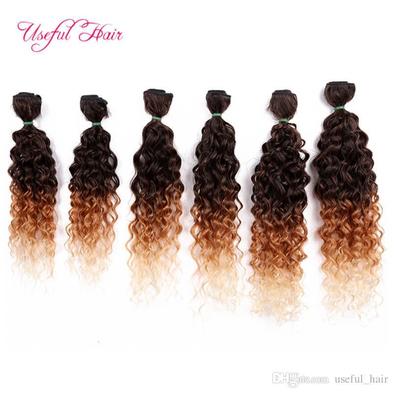 220G FREETRESS vagues profondes bundles brésilien crépus bouclés tissages SEW IN HAIR EXTENSIONS Extensions Blonde couleur Bordeaux armure faisceaux