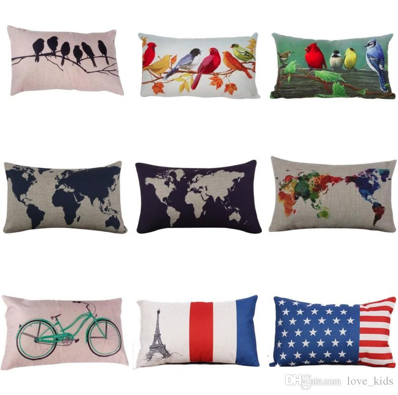 30*50cm line throw flax pillow case decoration cushion pillow cover dark blue world map printed pillow cases