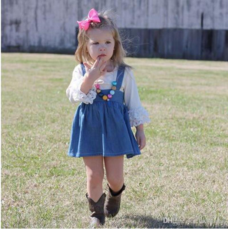 50268bfbf9 2019 Baby Clothing Set INS Girls Casual Dress Set White Lace Sleeve T Shirts    Denim Suspenders Skirts Outfits Baby Girls Clothes YL227 From Interbaby