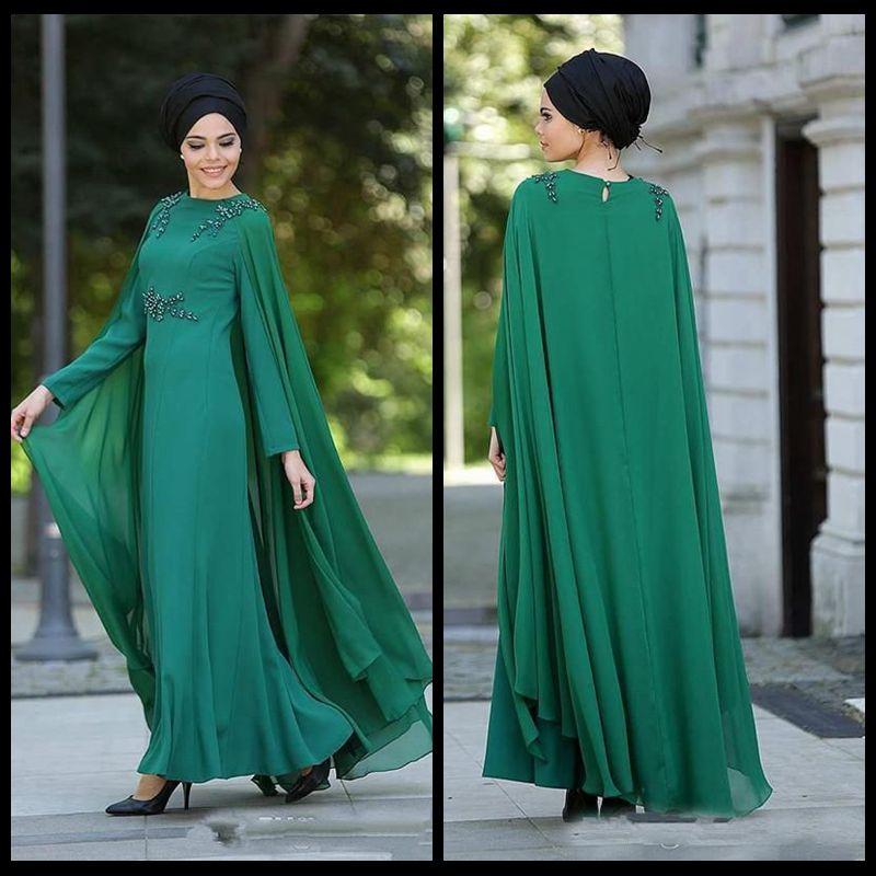 757ce2657d0 2018 Dubai Arabic Muslim Formal Evening Dresses Long Sleeve Chiffon Floor  Length Women Party Prom Dress With Cap Mother s Vestido De Festa