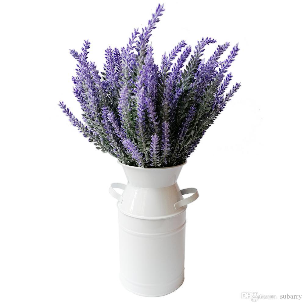 Small Elegant White Primitive Jug Vase Galvanized Milk Can Metal