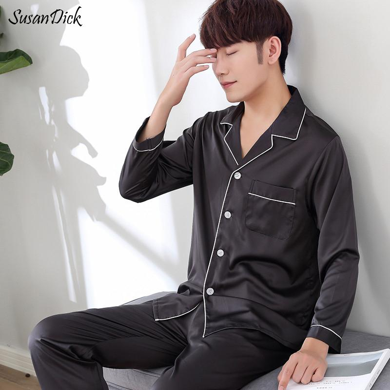 16607a9076c24 2019 Men Nightwear Long Sleeve Soft China Silk Pajamas Set Spring Summer  Pyjama Homme Man Satin Sleepwear Sets From Clothingdh, $50.21 | DHgate.Com