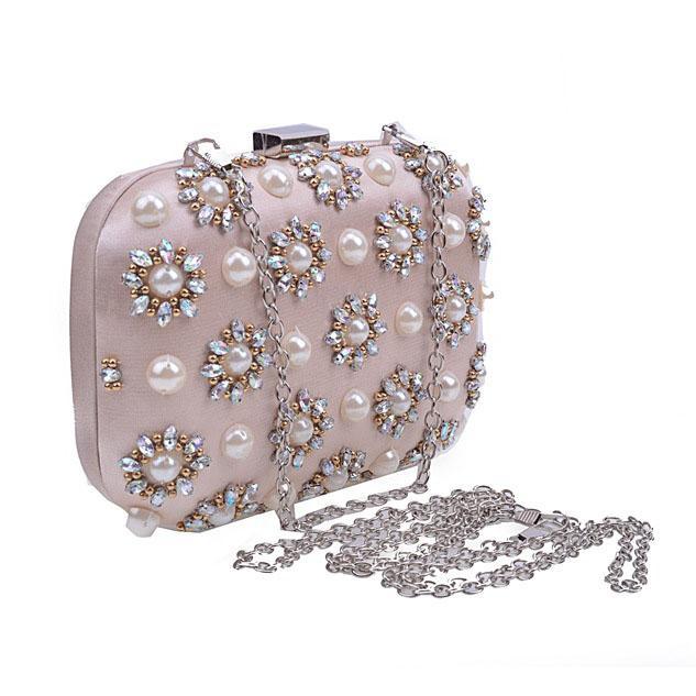 JZX7 DHL Açık Pembe Boncuk Inci Kristal Akşam Çanta Debriyaj Çanta Kadın Manşonlar Bayan Düğün çanta Çanta Çanta