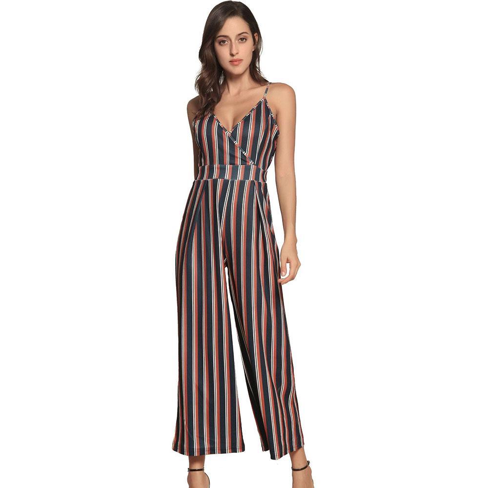 61fe570229d 2019 Coffee Striped Wide Leg Pants Plus Size Spaghetti Strap ...