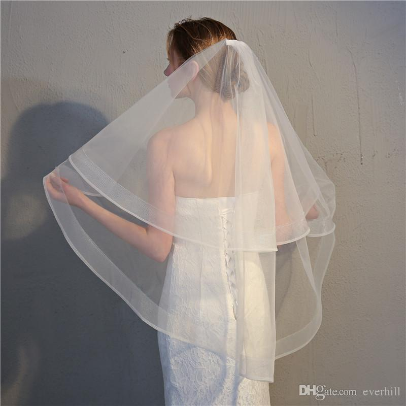 Jane Vini 2018 Simple Women Wedding Veils Two Layers white ivory Bridal Veils with Comb Elegant Soft Tulle Bride Veil New Hochzeit Schleier