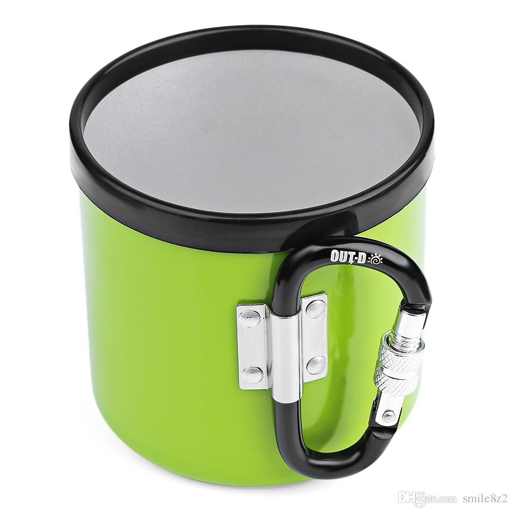 Out D Outdoor 400ml Cup Portable Camping Picnic Aluminum Mug With Foldable Handle Stove Cooking Equipment Camp Kitchen