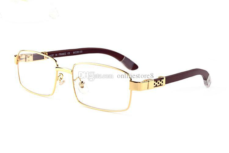 Famous classic brand plain mirror glasses men gold metal with wooden clear lens eyewear buffalo horn sunglasses