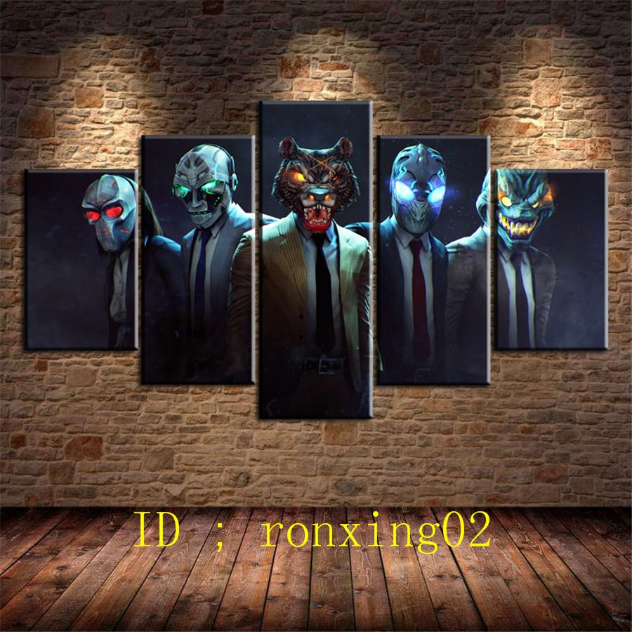 Payday 2 Mega Masks -2,5 Pieces Home Decor HD Printed Modern Art Painting  on Canvas (Unframed/Framed)