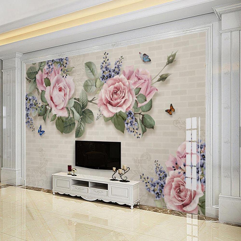 Großhandel Modernes Handölgemälde Blumen Wandbild Wohnzimmer Papel De  Parede Für Papel De Parede 3d Tapete Stereoskopisches Wandbild 3d Von  Aurorl, ...