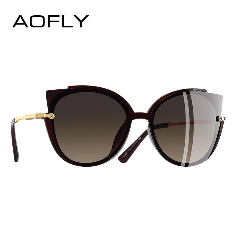 49771ed098a AOFLY BRAND DESIGN Fashion Lady Polarized Sunglasses Women Unique Frame Cat  Eye Sun Glasses Gafas UV400 A106 Glasses Frames Glasses Online From  E6241163