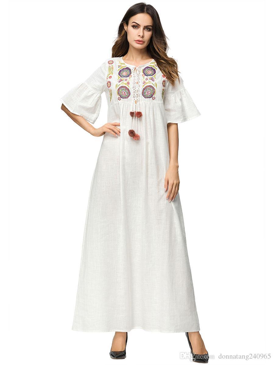 5aa1ede73f 2019 Fashion Ladies Maxi Dress Embroidery Full Abaya Half Sleeve Loose Long  Robe Gowns Vestido Muslim Kimono Middle East Dubai Islamic Clothing From ...