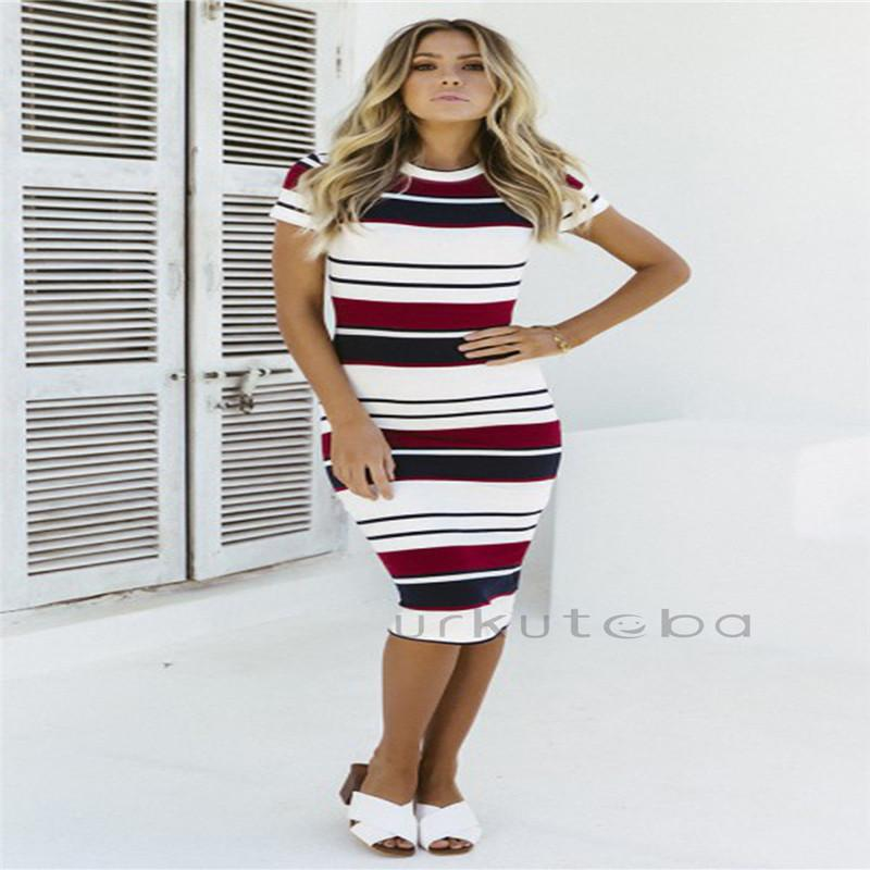 9f0309a21 Trendy Women Dress Round Neck Short Sleeve Summer Boho Striped Party ...