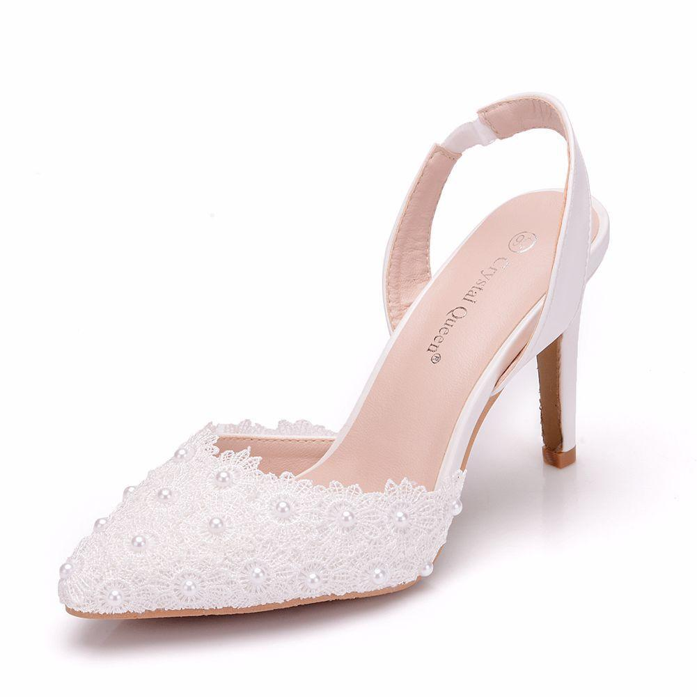 High Heels Pumps Women Shoes Slingbacks Pointed Toe Lace Pearls Wedding  Shoes PU Leather Elegant Ladies Shoes Zapato Mujer White Italian Shoes  Summer Shoes ... 429775143f