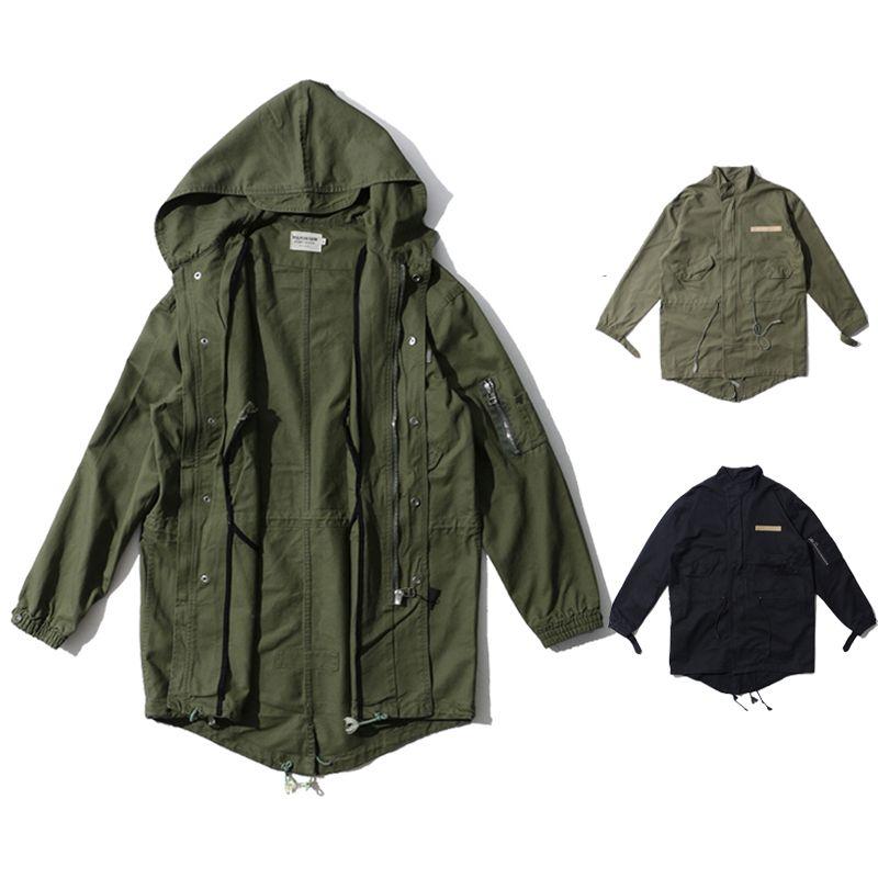 68a56b6422c3a 2019 Men S Zip Up Hooded Trench Coat Long Windbreaker Jacket Winter Outdoor  Coat Black Army Green BFSH0812 From Hhwq105
