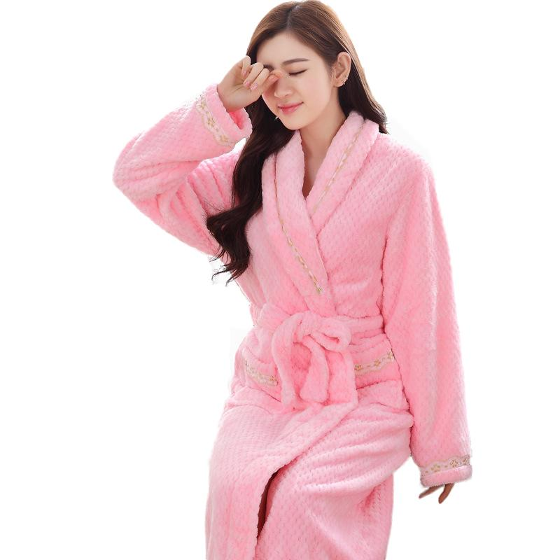 7ced9e6312 2019 Autumn Winter Bathrobes Women Long Sleeve Flannel Robe Thick Solid  Color Nightdress Women Warm Bath Robes From Hognyeni