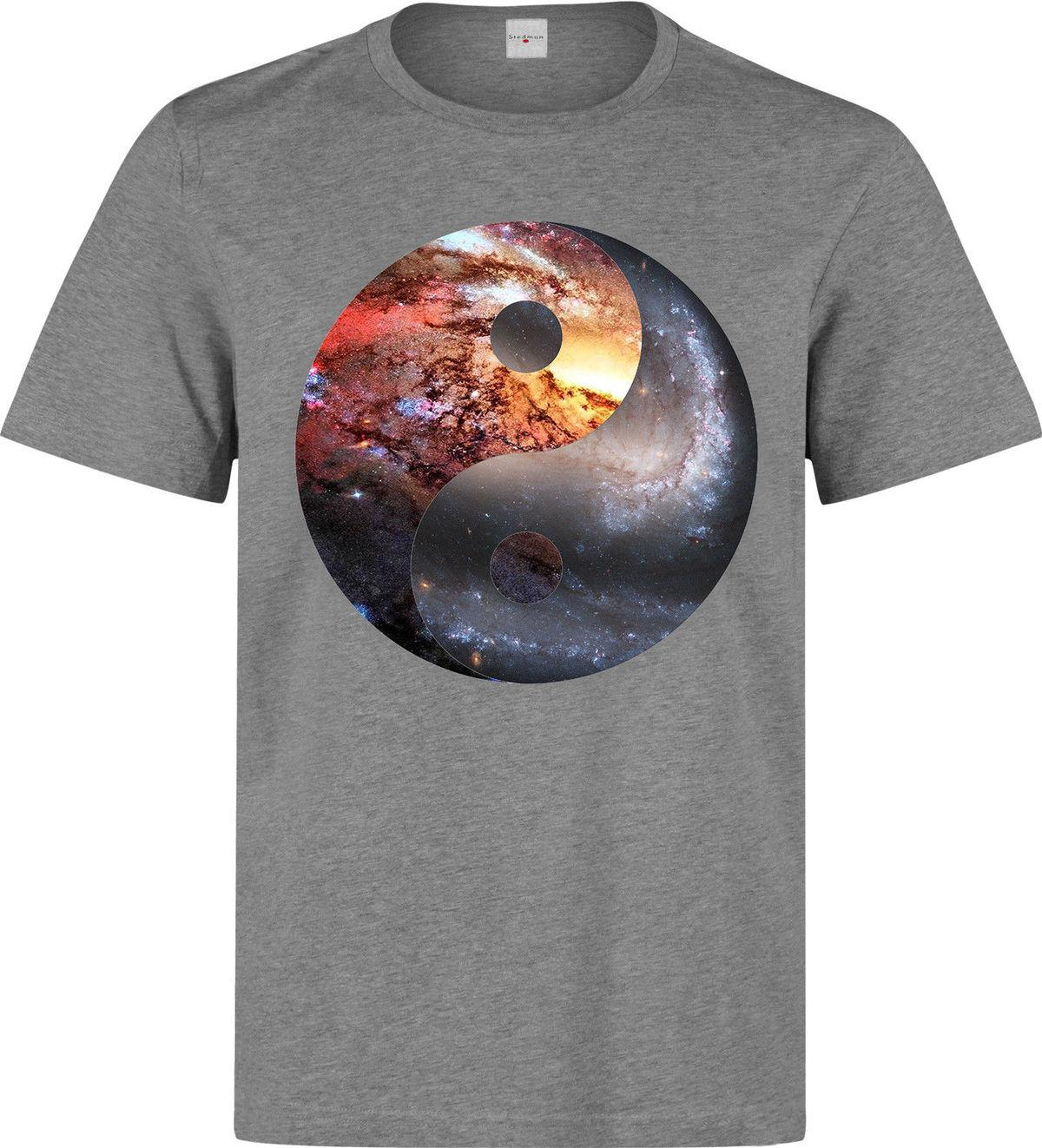 Yin And Yang Cosmic Nebula Art men (woman's available) grey t shirt quality top New Men Cotton T-Shirt