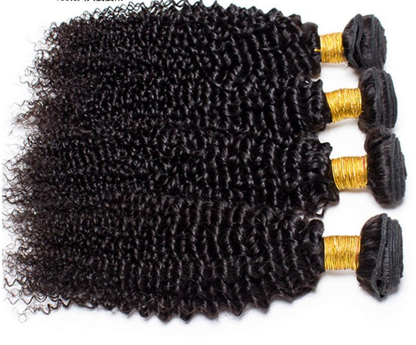 Brazilian Hair Kinky Curly hair Bundles with Lace Closure 100% Human Hair weft NO tangle&shedding !Factory Discount Promotions Price !