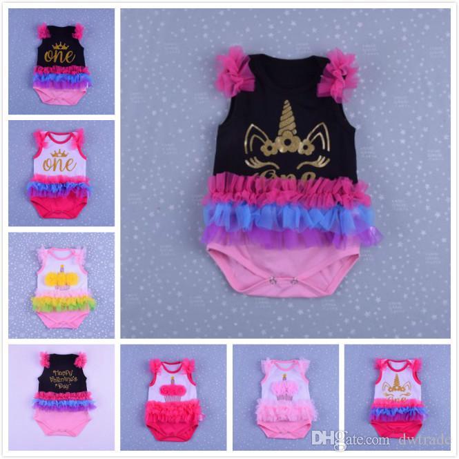 ddd5df385 2018 Summer Hot Girls High-Quality Cotton Unicorn Baby Girl Sleeveless  Harem Triangle Romper Children's Open Garment Little Lolie Style Infant  Rompers ...