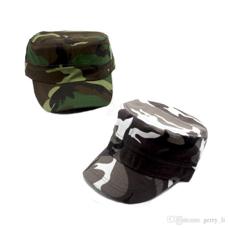 8bb233a5942 2019 Adult Unisex Chapeau Adjustable Cadet Style Cotton Flat Top Military  Cap Camouflage Army Hats Men Women Summer Military Hats 333 From Gerry li