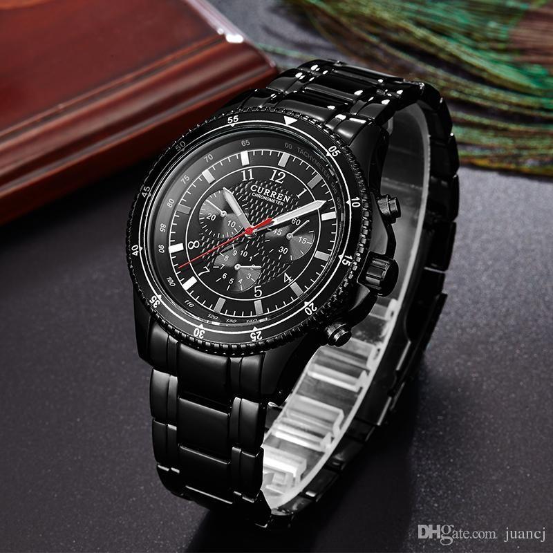 309245eca08 Compre Curren Moda Relógio De Quartzo Esporte Mens Relógios Top Marca De  Luxo Militar De Aço Inoxidável Relógio De Pulso Relogio Masculino 8055 De  Lidada96