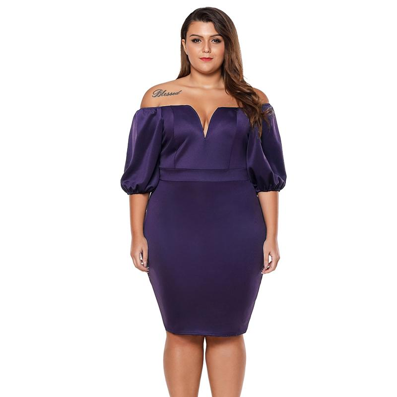 2019 Wholesale Queen Style Puff Sleeve Plus Size Bodycon Dress .The ...
