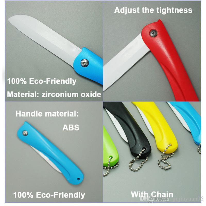"""Brand 3"""" Colorful Eco-friendly Zirconium oxide Folding kitchen Ceramic fruit knife cutting tool with Chain"""